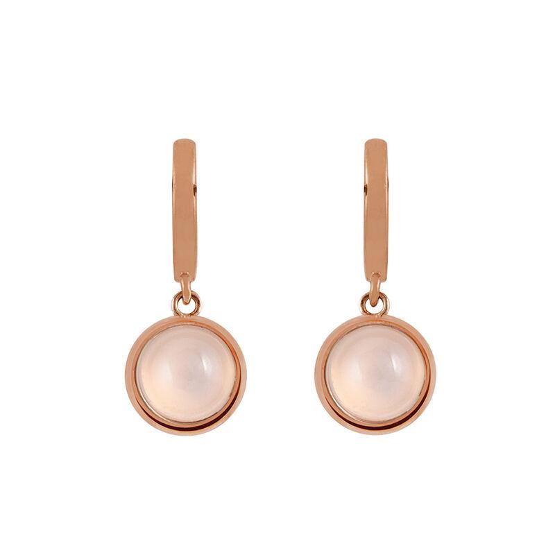 Rose gold plated seal moonstone hoop earrings, J01976-03-WMS, hi-res