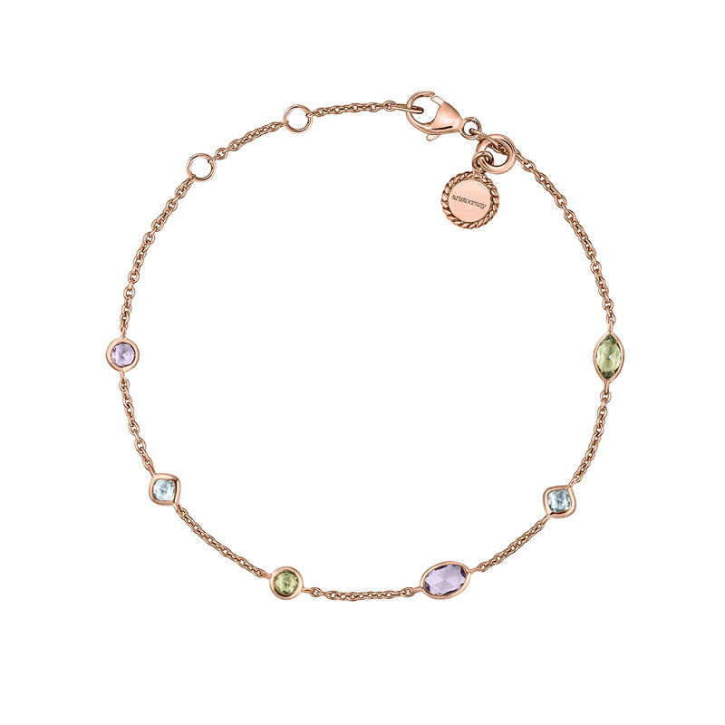 Rose gold gemstone mix bracelet, J03764-03-AMPESB, hi-res