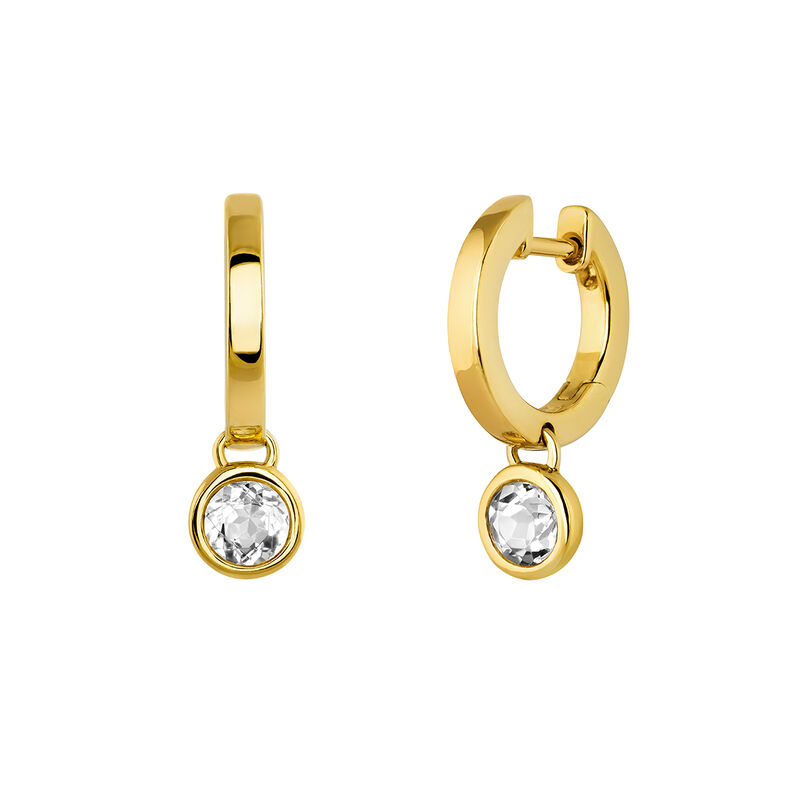 Small gold plated hoop earrings with topaz, J03808-02-WT, hi-res