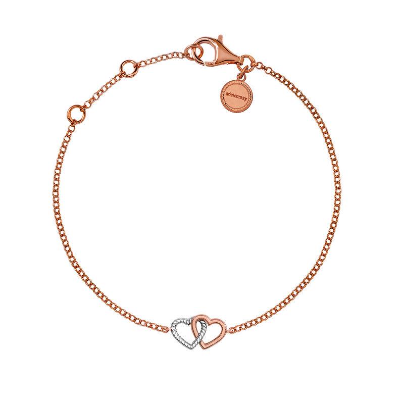 Bracelet double coeur argent plaqué or rose, J03194-05, hi-res
