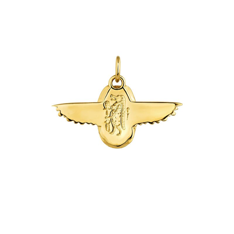 Gold plated Egyptian beetle necklace, J04268-02, hi-res