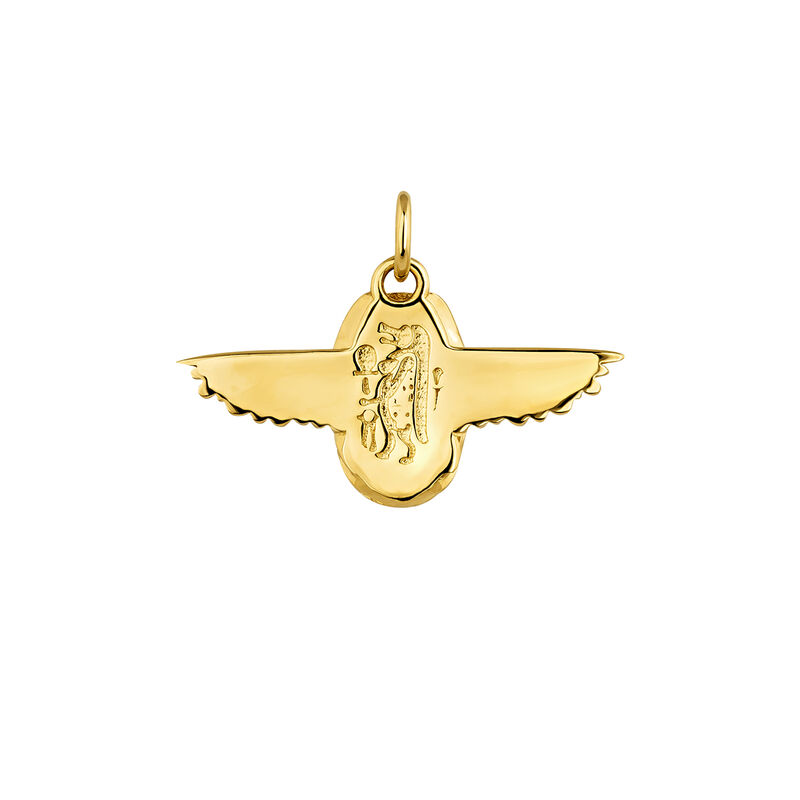 Egyptian  beetle necklace gold, J04268-02, hi-res
