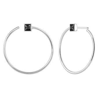 Hoop earrings spinel silver, J04091-01-BSN, hi-res