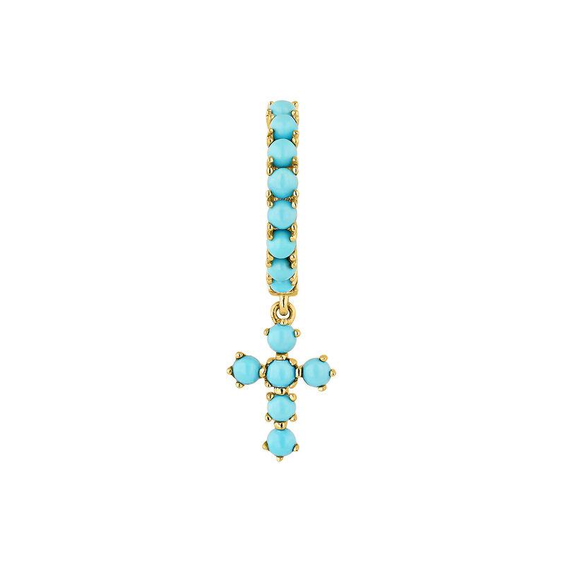 Pendiente cruz turquesa oro 9kt, J04696-02-TQ-H, hi-res