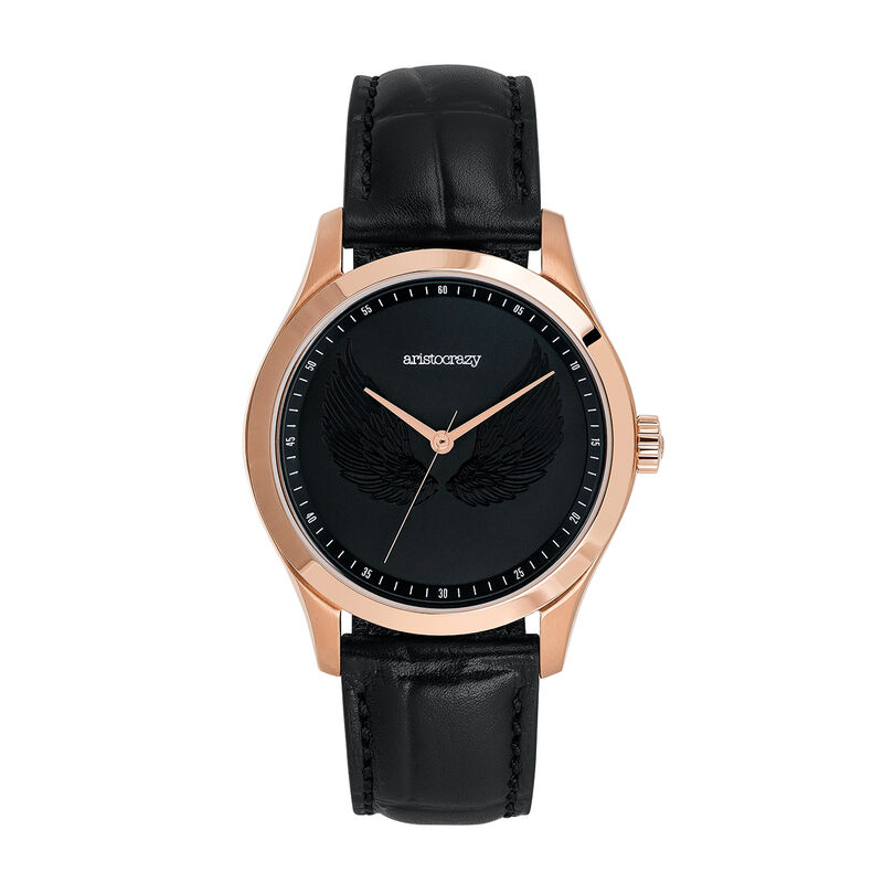 Montre Rock Icon ailes gravées bracelet cuir  noir, W41A-PKPKWG-LEBL, hi-res