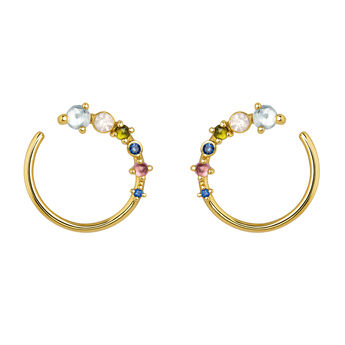 Hoop earrings curve with stones gold, J04142-02-SKYPQGT, hi-res