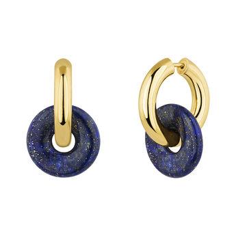 Créoles lapis lazuli argent plaqué or, J04751-02-LP, hi-res