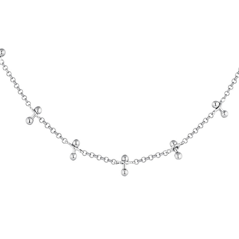 Silver piercing bars necklace, J04328-01, hi-res