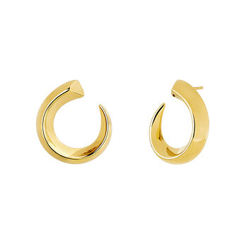 Small gold tapered open hoop earrings, J04254-02, hi-res