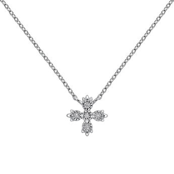 Collier 5 diamants or blanc 0,03 ct, J03396-01, hi-res