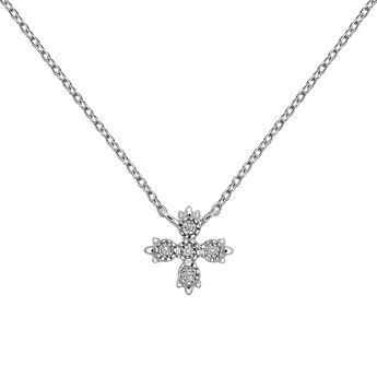 Collier 5 diamants or blanc 0,03 ct, J03396-01, hi-res