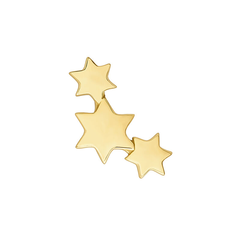 Gold three stars piercing earring