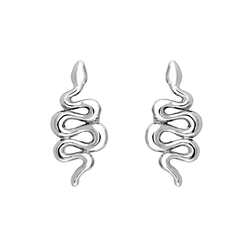 Silver snake earrings, J04010-01, hi-res