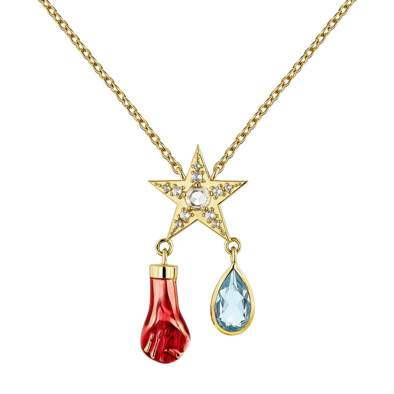 Small gold plated star necklace, J04298-02-SKYWT, hi-res