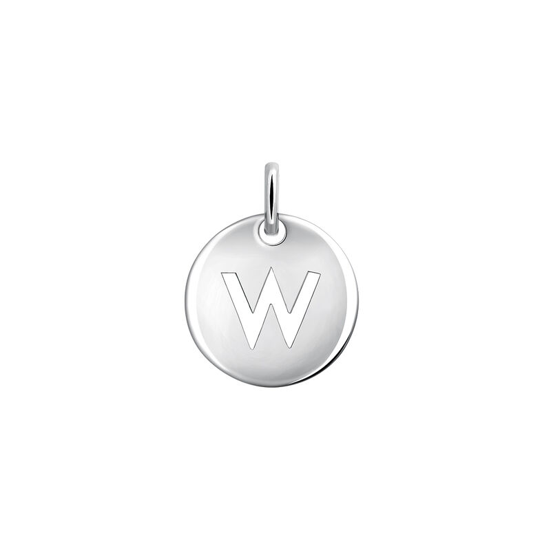 Silver W letter necklace, J03455-01-W, hi-res