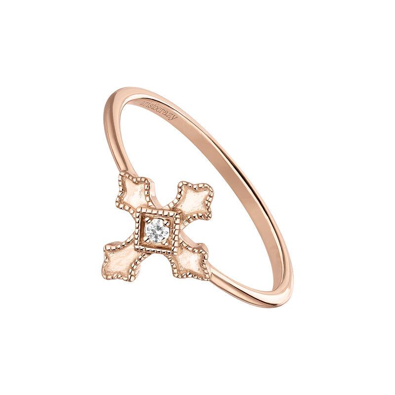 Rose gold topaz cross ring, J04225-03-WT, hi-res