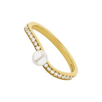 Anillo tú y yo topacios y perla plata recubierta oro, J04747-02-WT-WP, hi-res