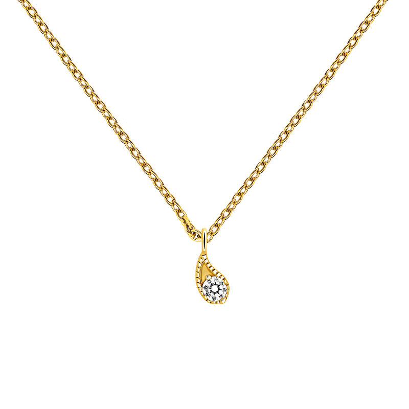 Colgante diamante amarillo 0,061 ct oro 9 kt
