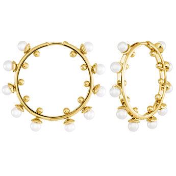 Boucles d'oreilles créoles moyennes perles or, J04018-02-WP, hi-res