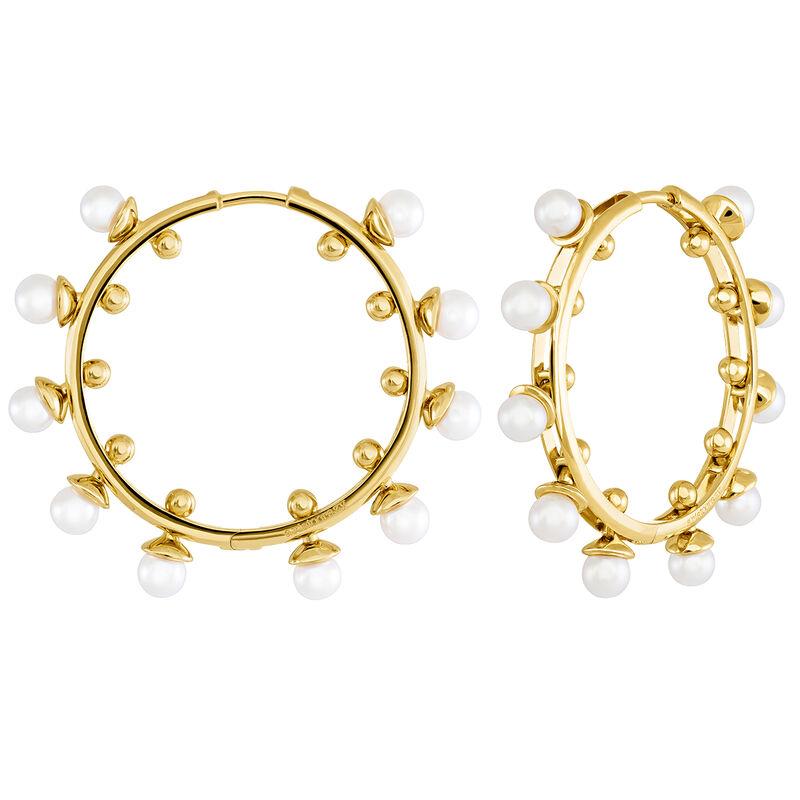 Pendientes de aro mediano perlas oro, J04018-02-WP, hi-res