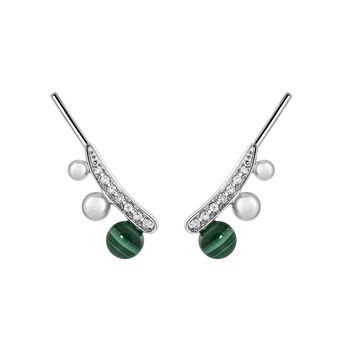 Silver Malachite Climber Earrings, J03511-01-WT-MA, hi-res