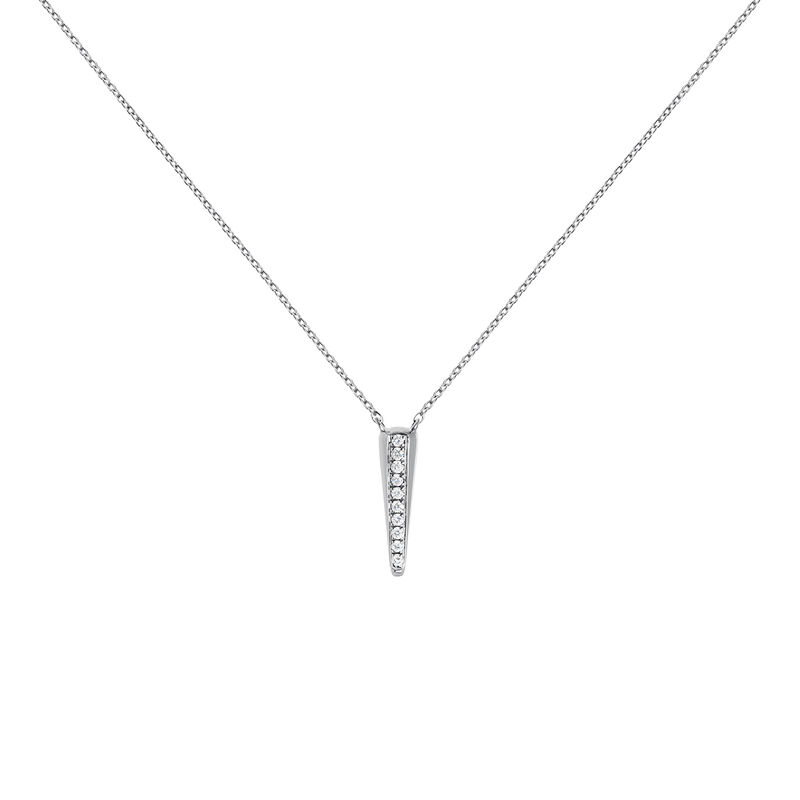 White gold spike and diamond necklace 0.04 ct, J03884-01, hi-res