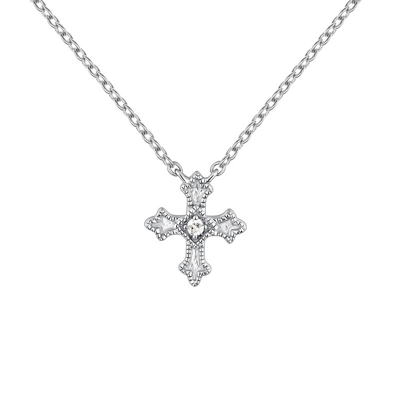 Necklace small-size cross with topaz, J04230-01-WT, hi-res