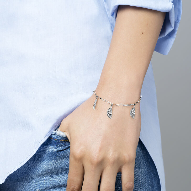 Bracelet ailes breloques argent, J04303-01, hi-res