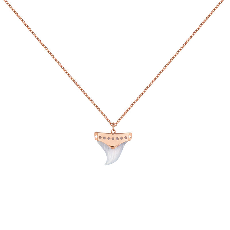 Rose gold plated silver green eye necklace, J04392-03-BLA, hi-res