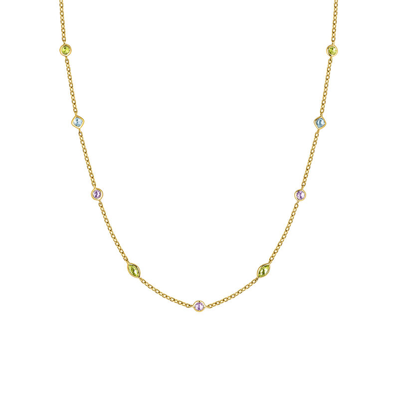Gold plated mix stones necklace, J03765-02-AMPESB, hi-res