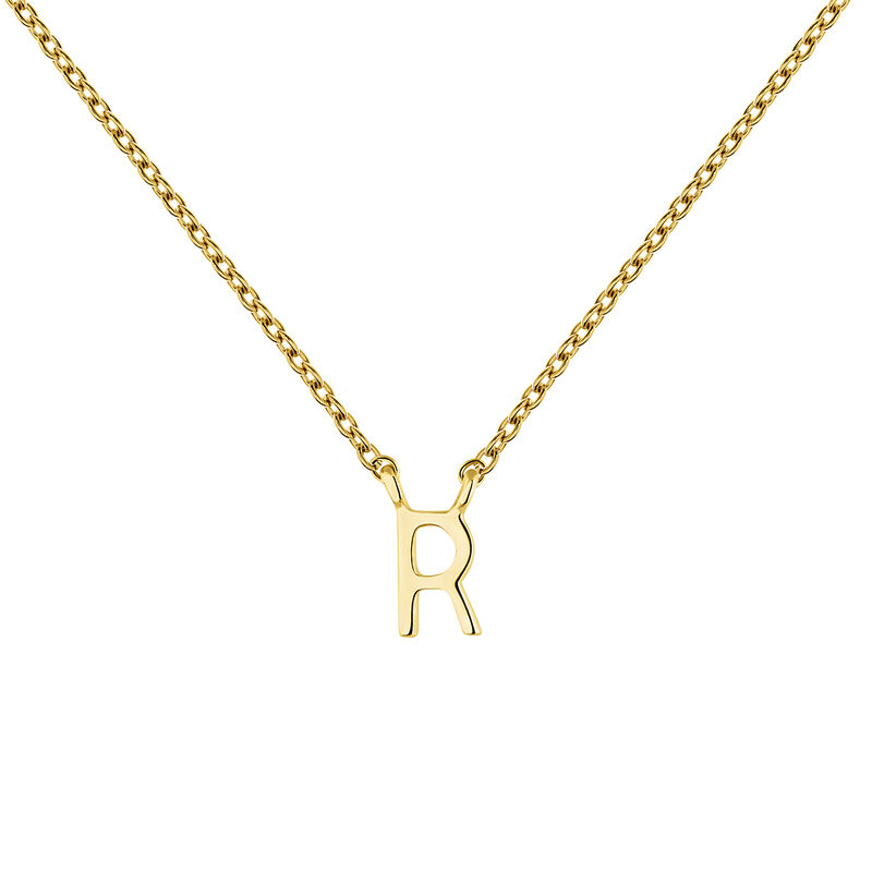 Gold Initial R necklace, J04382-02-R, hi-res