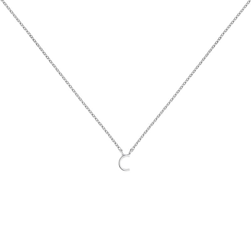 Collier iniciale C or blanc, J04382-01-C, hi-res