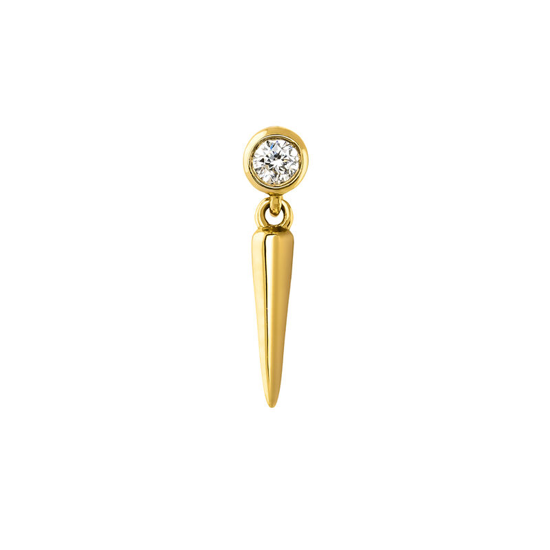 Gold spike diamond earring piercing, YELLOW GOLD, hi-res