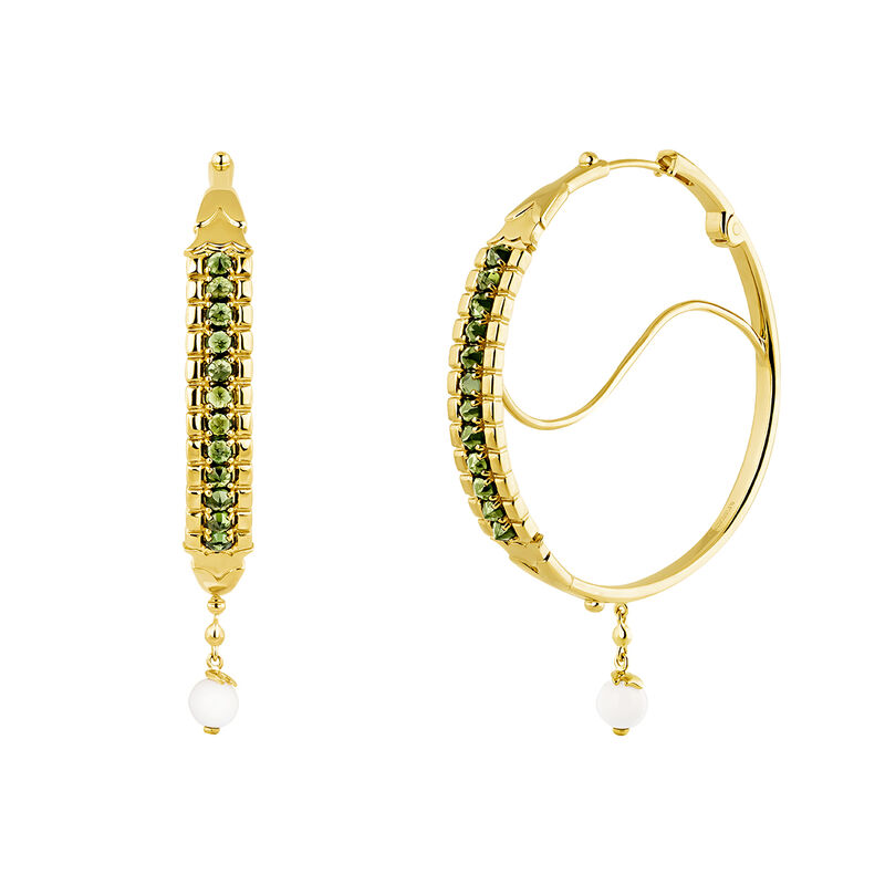 Green gold plated turmaline creole earrings, J04277-02-GTU-WAV, hi-res
