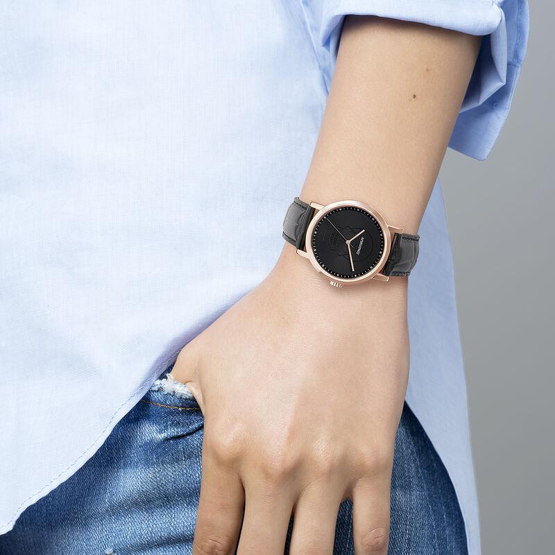 Montre Rock Icons bracelet cuir tête de mort, W45A-PKPKSK-LEBL, hi-res