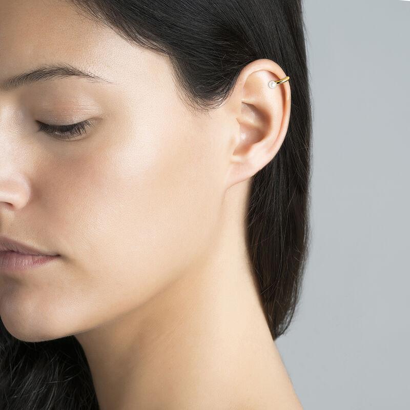 Pendiente piercing cartílago perla plata recubierta oro, J04020-02-WP, hi-res