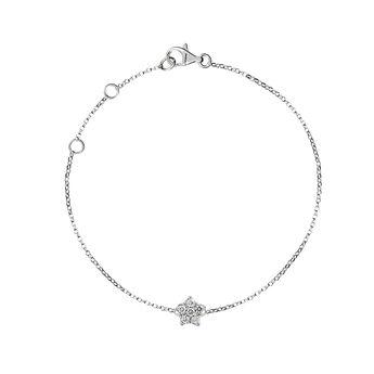 Bracelet étoile or blanc diamants 0,05 ct, J01349-01, hi-res