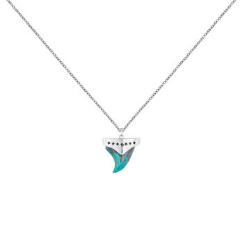 Silver chrysocolla fang necklace, J04392-01-CH, hi-res