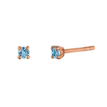 Rose gold prong earrings topaz , J03457-03-LB, hi-res