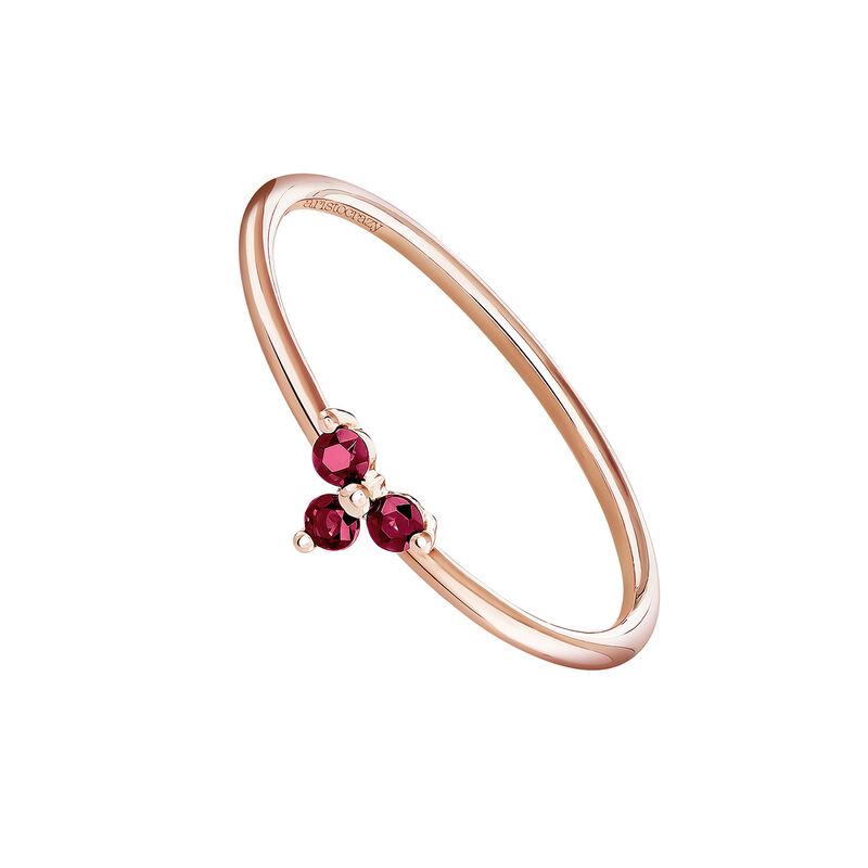 Bague trèfle rubis or rose, J04066-03-RU, hi-res