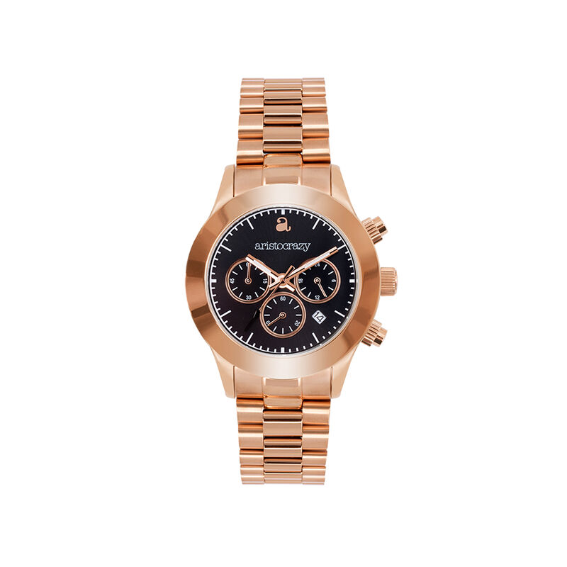 Soho watch rose gold bracelet black face., W29A-PKPKBL-AXPK, hi-res