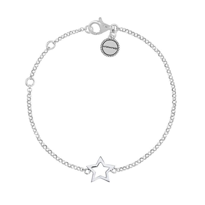Pulsera estrella hueca plata, J01373-01, hi-res