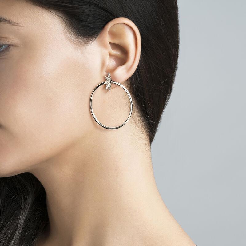 Silver Star Hoop earrings, J03723-01-GD, hi-res