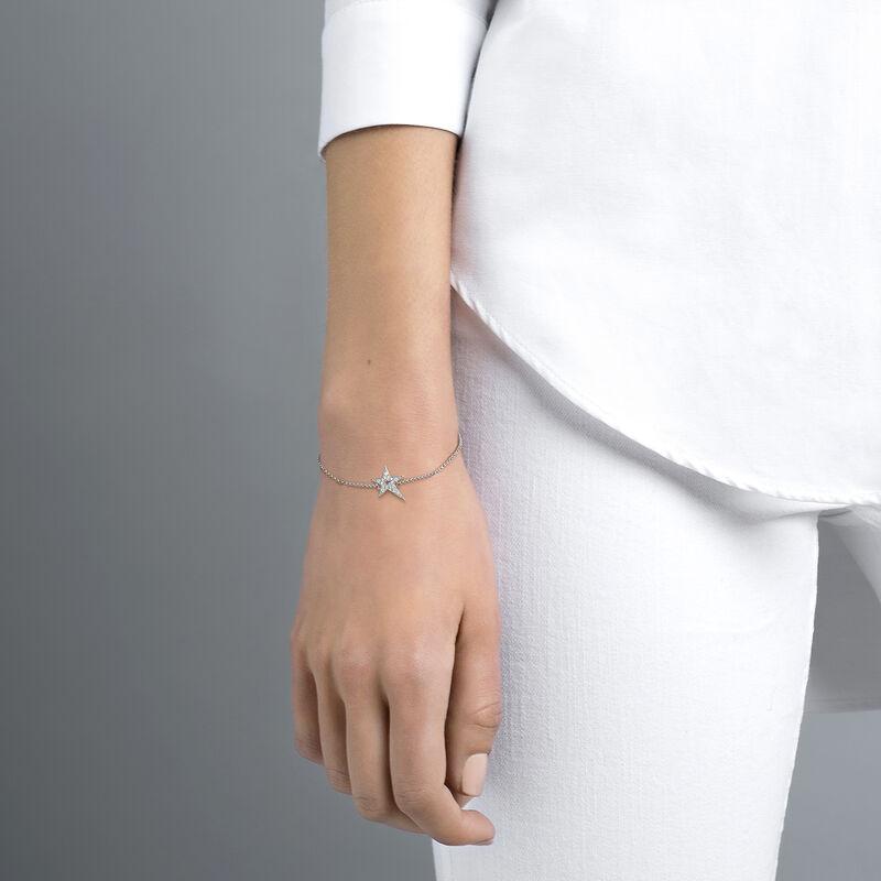 Silver hollow asymmetric star bracelet with topaz, J03974-01-WT, hi-res