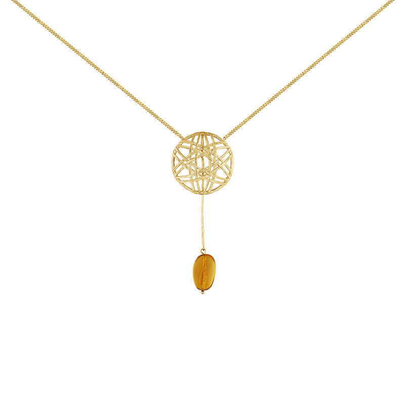 Collar mimbre colgante ámbar plata recubierta oro, J04421-02-AMB, hi-res