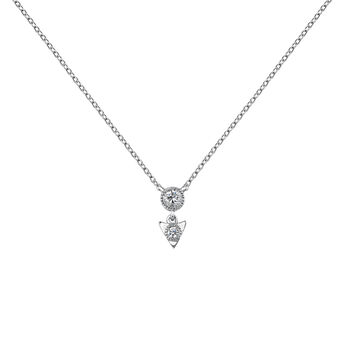 Collier triangle diamant or blanc, J03924-01, hi-res