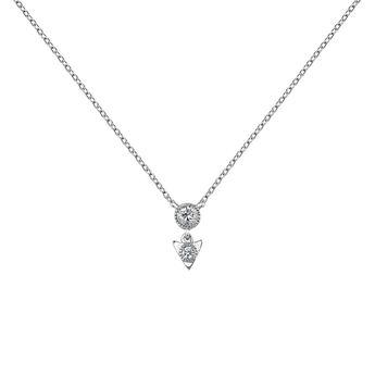 Colgante triángulo diamante oro blanco 0,0535 ct, J03924-01, hi-res