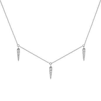 Collier motifs pointes et diamants or blanc 0,15 ct, J03887-01, hi-res