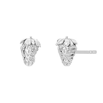 Silver strawberry earrings, J03726-01, hi-res