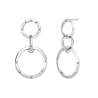 Long silver triple earrings, J03595-01, hi-res